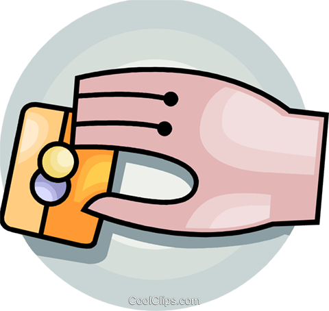 Hand and credit card Royalty Free Vector Clip Art illustration vc092699