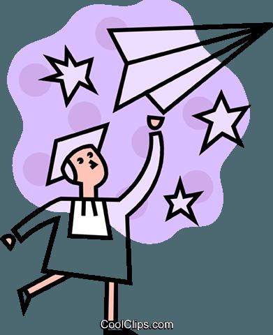 男毕业,纸飞机 免版税矢量剪贴画插图