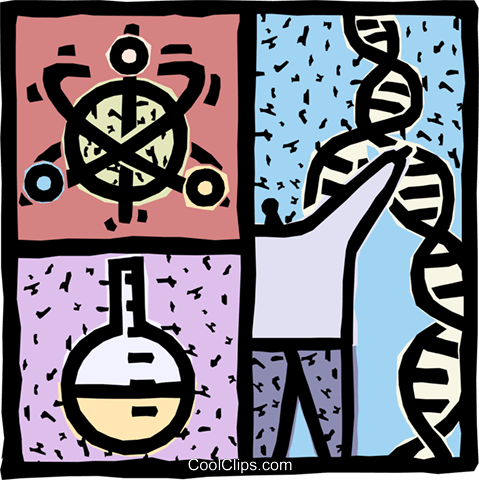Scientists performing lab test on DNA Royalty Free Vector Clip Art illustration vc093111