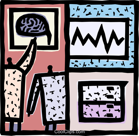 Doctors looking at the brain Royalty Free Vector Clip Art illustration vc093116