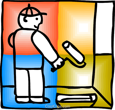 Painter with painting wall Royalty Free Vector Clip Art illustration vc093150