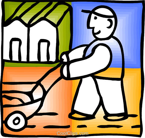 Man with seed planter Royalty Free Vector Clip Art illustration vc093152
