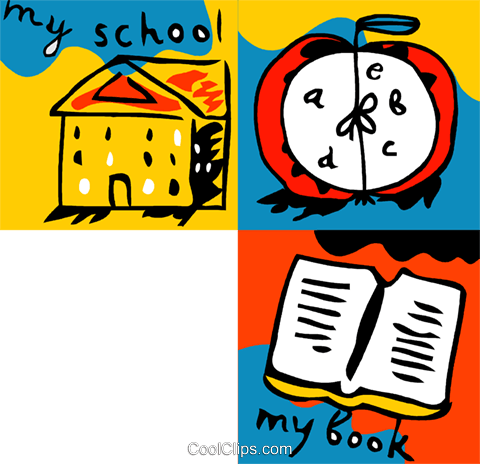 School, alarm clock and book Royalty Free Vector Clip Art illustration vc093162