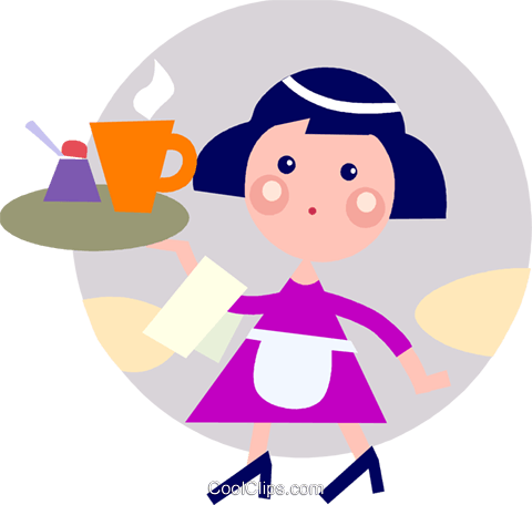 Waitress serving coffee Royalty Free Vector Clip Art illustration vc093173