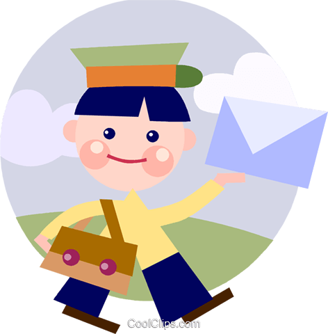 Mailman delivering mail Royalty Free Vector Clip Art illustration vc093175