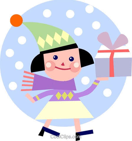 Girl walking in the snow Royalty Free Vector Clip Art illustration vc093176
