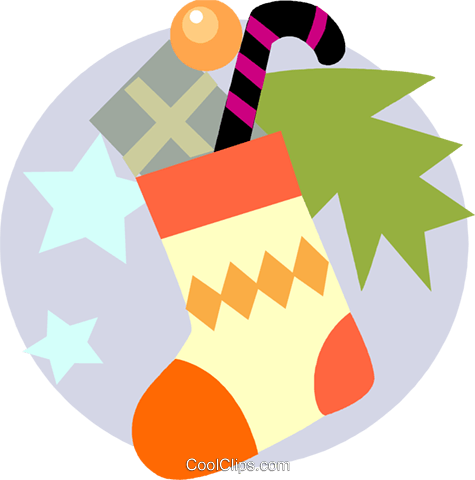 Christmas stocking with candy cane Royalty Free Vector Clip Art illustration vc093178