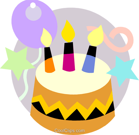 Birthday cake with balloons Royalty Free Vector Clip Art illustration vc093183