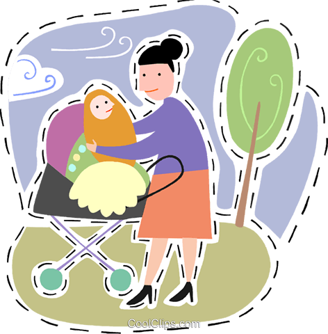Mother with her baby in the park Royalty Free Vector Clip Art illustration vc093185