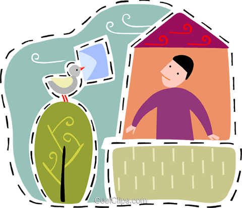 Dove delivering mail to man Royalty Free Vector Clip Art illustration vc093186