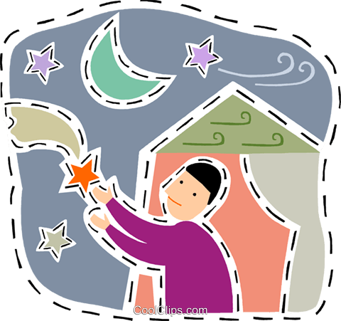 Boy trying to catch a shooting star Royalty Free Vector Clip Art illustration vc093187