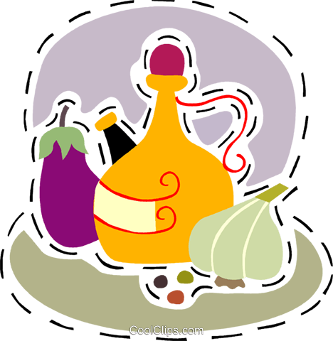 Olive oil with garlic and egg plant Royalty Free Vector Clip Art illustration vc093195