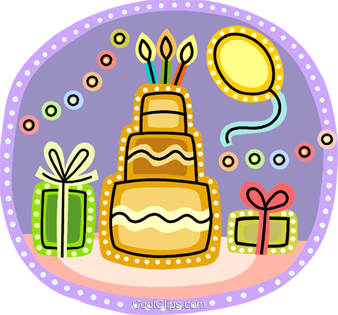 Birthday cake, presents and balloons Royalty Free Vector Clip Art illustration vc093202