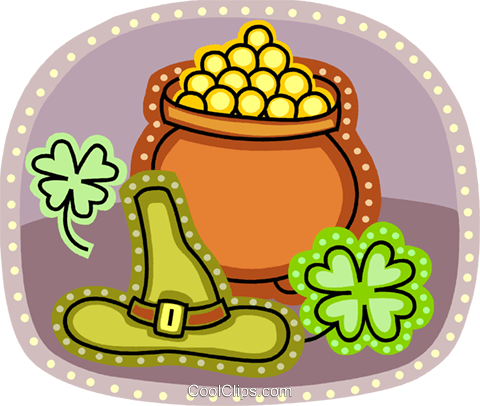 Pot of Gold Royalty Free Vector Clip Art illustration vc093207
