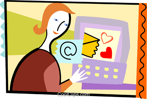 Woman sending love letter by e-mail Royalty Free Vector Clip Art illustration vc093208