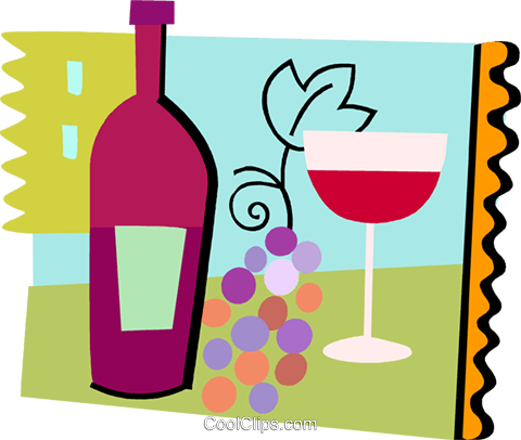 Wine with grapes Royalty Free Vector Clip Art illustration vc093218