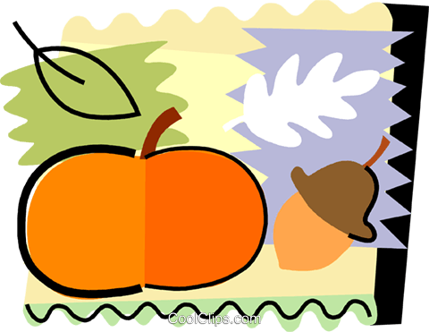 Pumpkin and acorn Royalty Free Vector Clip Art illustration vc093219