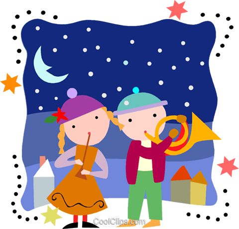 playing instruments on Christmas Day Royalty Free Vector Clip Art illustration vc093220