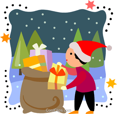 Boy taking a present out of Santa's bag Royalty Free Vector Clip Art illustration vc093221