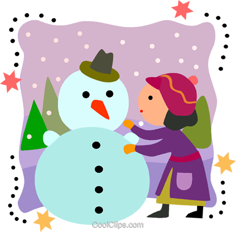 Girl building a snowman Royalty Free Vector Clip Art illustration vc093223