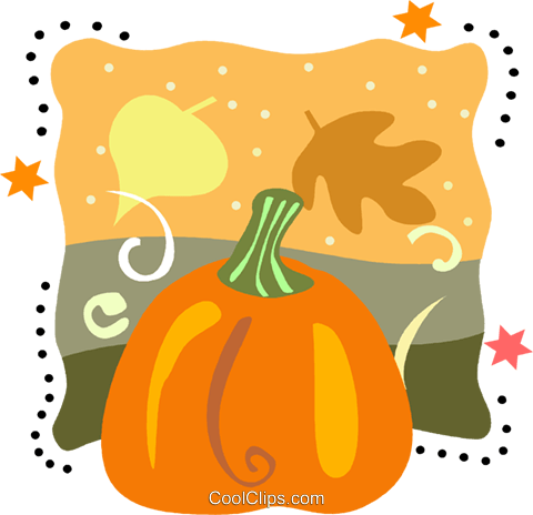 Pumpkin with leaves Royalty Free Vector Clip Art illustration vc093224