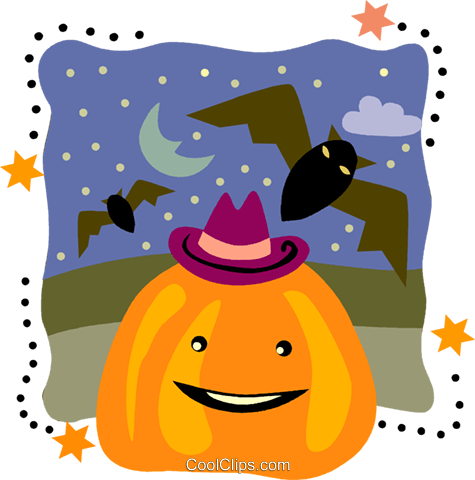 Jack-o-lantern with flying bats Royalty Free Vector Clip Art illustration vc093225