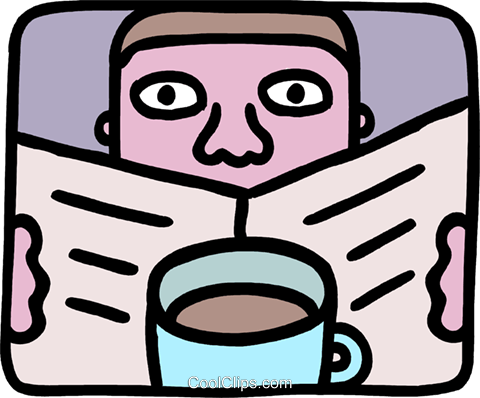 Man reading the paper and having coffee Royalty Free Vector Clip Art illustration vc093276