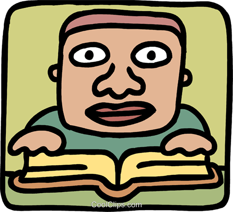Boy reading a book Royalty Free Vector Clip Art illustration vc093279