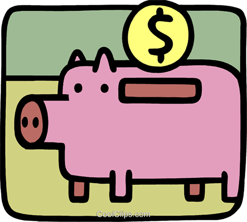 Piggy bank and change Royalty Free Vector Clip Art illustration vc093283