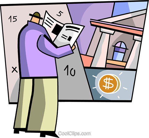 Man reading the paper in the bank Royalty Free Vector Clip Art illustration vc093286