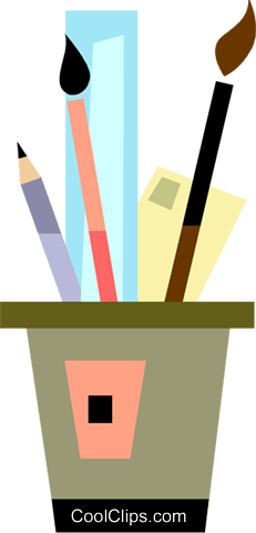 Paint and Brushes Royalty Free Vector Clip Art illustration vc093307