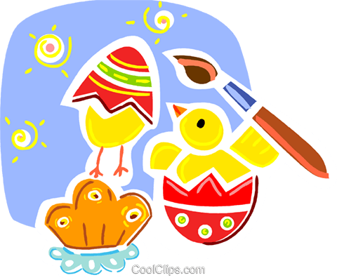 Easter Chicks with Eggs Royalty Free Vector Clip Art illustration vc093334