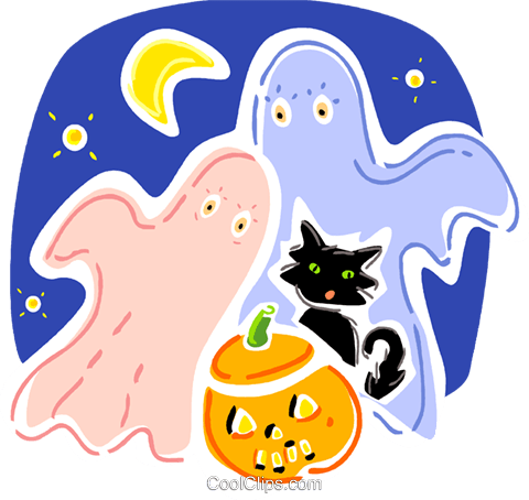 Ghosts Royalty Free Vector Clip Art illustration vc093337