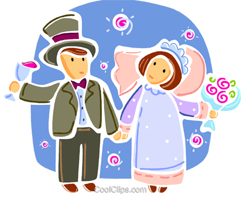 Bride and Groom Royalty Free Vector Clip Art illustration vc093340