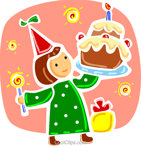 Girl celebrating with birthday cake Royalty Free Vector Clip Art illustration vc093342