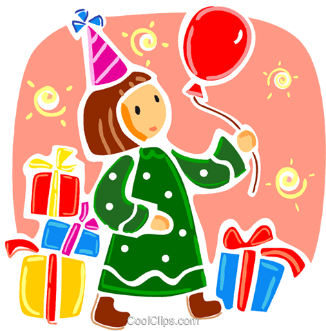 Birthday girl witr presents and balloon Royalty Free Vector Clip Art illustration vc093353