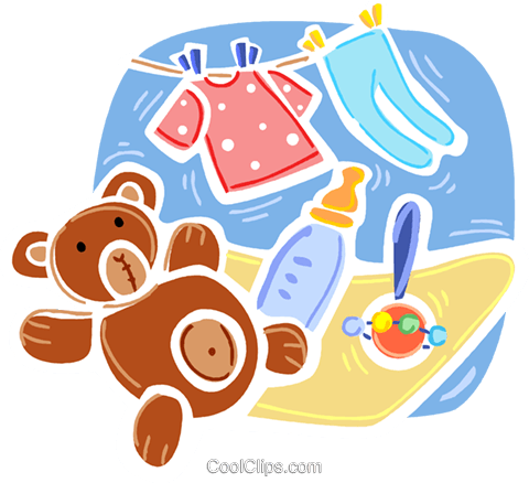 Baby Toys and Objects Royalty Free Vector Clip Art illustration vc093383