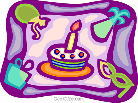 Birthday cake presents, balloons Royalty Free Vector Clip Art illustration vc093407