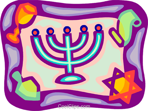 Menorah with star of David and scrolls Royalty Free Vector Clip Art illustration vc093410