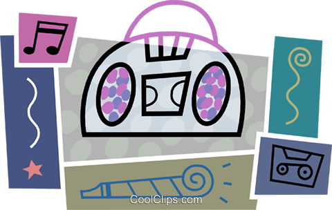 Portable stereo with cassette tape Royalty Free Vector Clip Art illustration vc093431