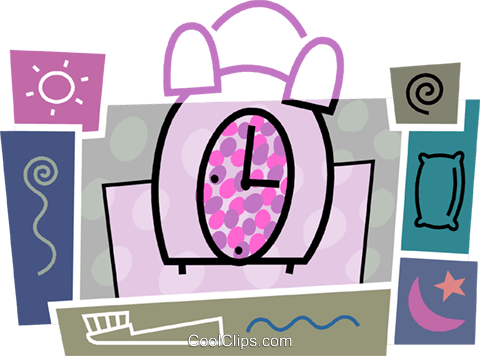 Alarm clock with toothbrush, pillow Royalty Free Vector Clip Art illustration vc093437