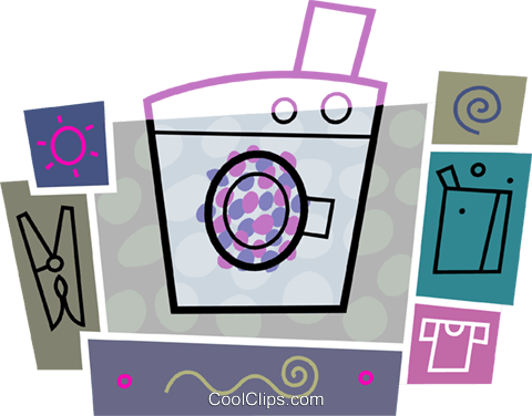 Washing machine with soap Royalty Free Vector Clip Art illustration vc093439