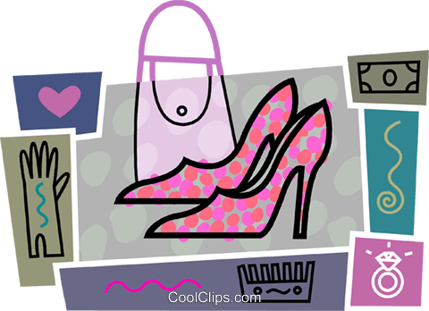 Dress shoes with purse, gloves Royalty Free Vector Clip Art illustration vc093441
