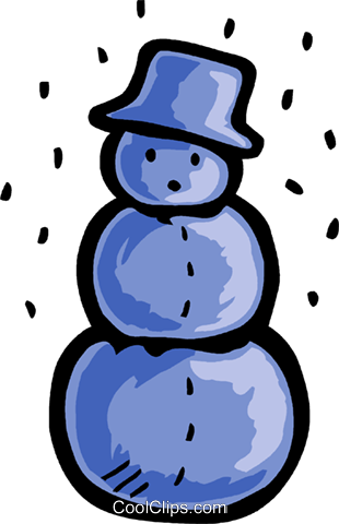 Snowman wearing a hat with snow falling Royalty Free Vector Clip Art illustration vc093542