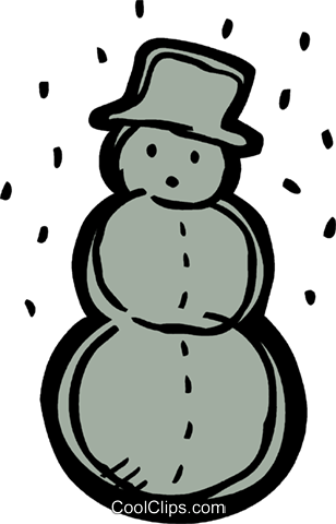 Snowman wearing a hat with snow falling Royalty Free Vector Clip Art illustration vc093543