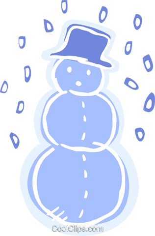 Snowman wearing a hat with snow falling Royalty Free Vector Clip Art illustration vc093545