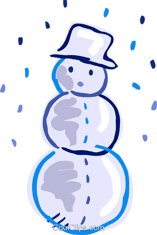 Snowman wearing a hat with snow falling Royalty Free Vector Clip Art illustration vc093546