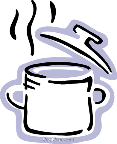 Boiling pot of soup Royalty Free Vector Clip Art illustration vc093549