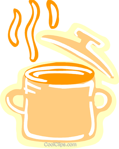 Boiling pot of soup Royalty Free Vector Clip Art illustration vc093550