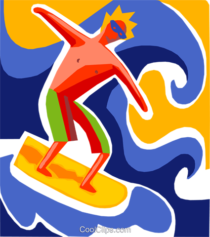 Surfer catching a wave Royalty Free Vector Clip Art illustration vc093682